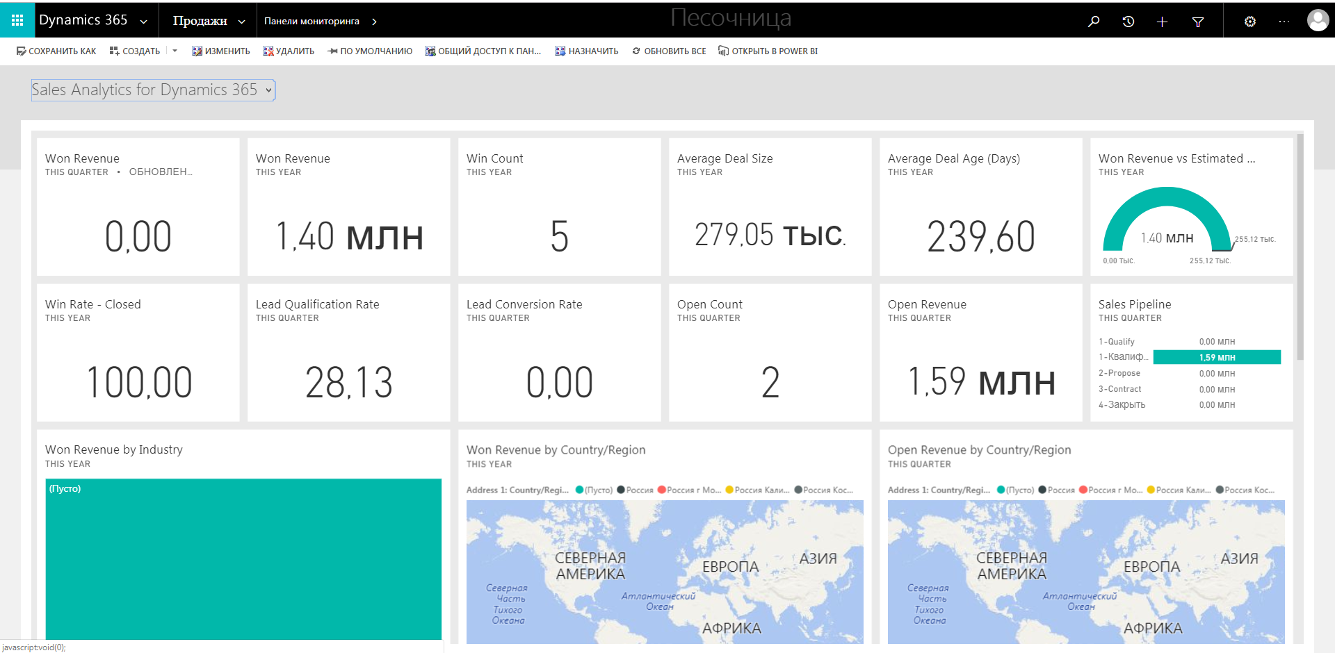 мониторинга Sales Analytics for Dynamics 365